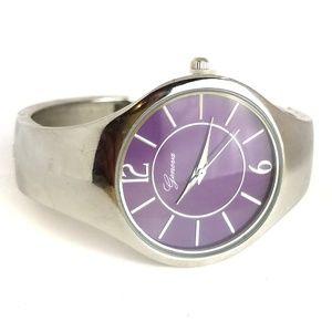 Geneva Cuff Watch Purple Face Never Used